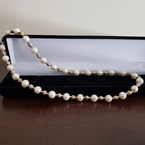 Pearl and Silver Ball Necklace